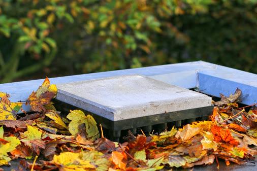 Herfst bladeren plat dak